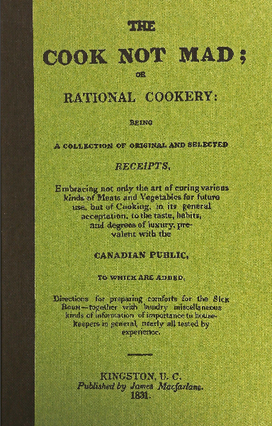 Vintage book cover with long title starting with the words The Cook Not Mad