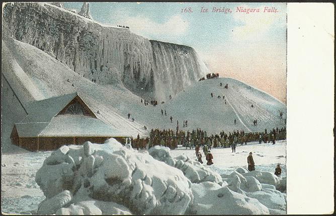 Postcard of illustrated frozen Niagara Falls