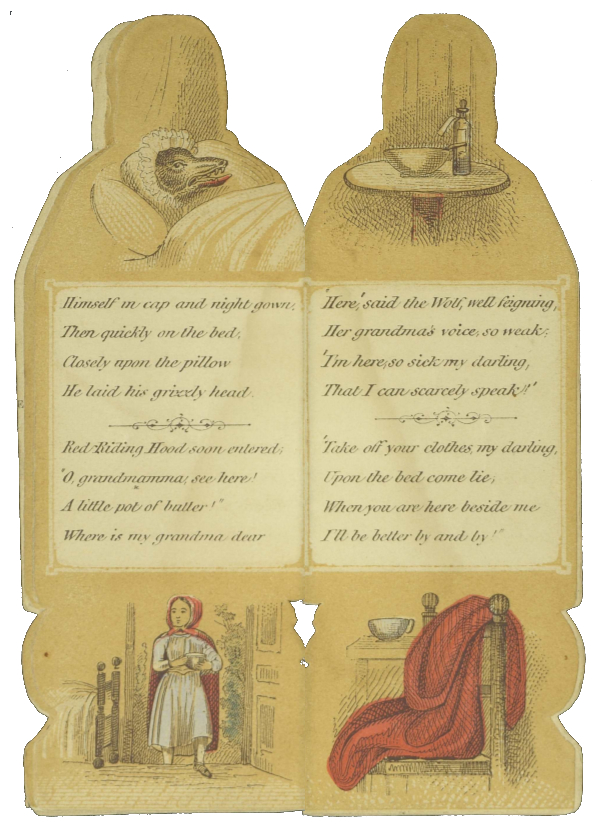 Shaped book opened revealing text and illustrations