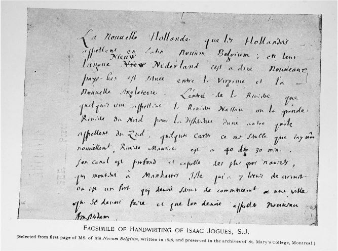 Portion of handwritten letter in French accredited to Jogues
