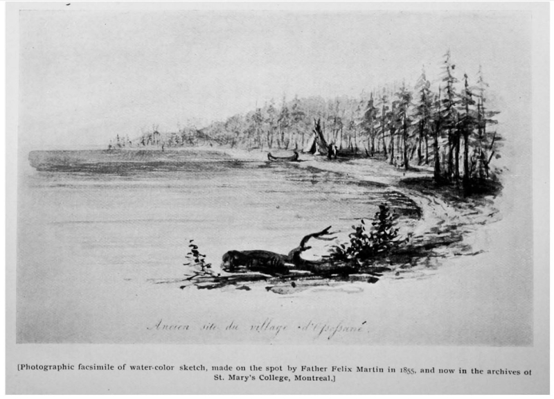 Sketch of waterfront with canoe and figures in the distance