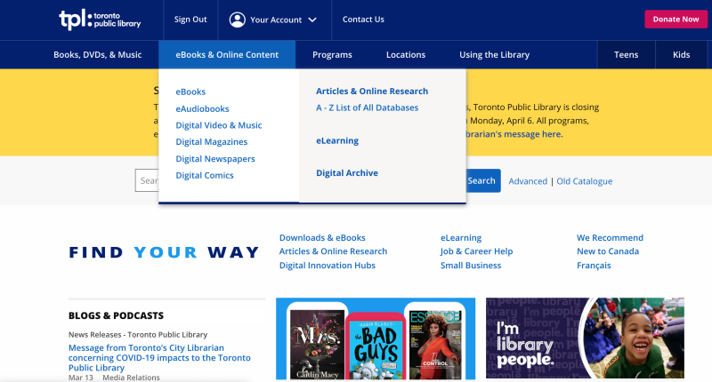 TPL homepage showing ebooks and online content menu