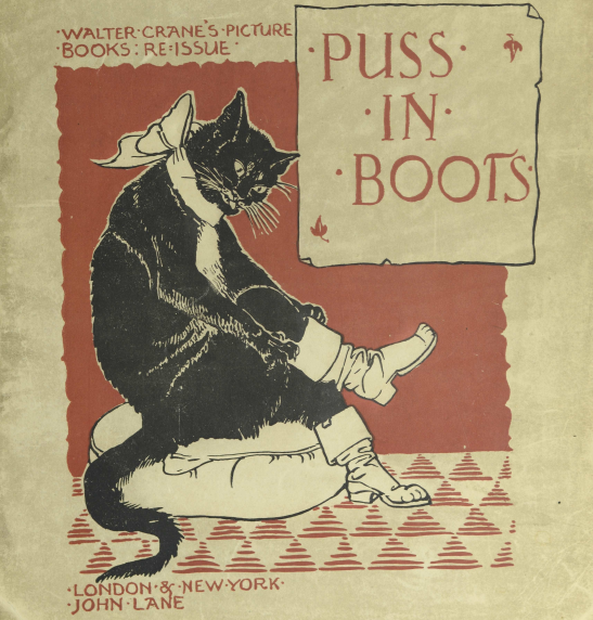 Cover of Puss in Boots book showing cat putting on boots