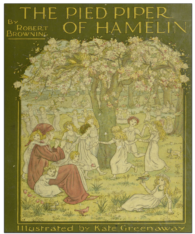 Book cover of The Pied Piper of Hamelin by Robert Browning with illustration of boy playing pipe alongside dancing children