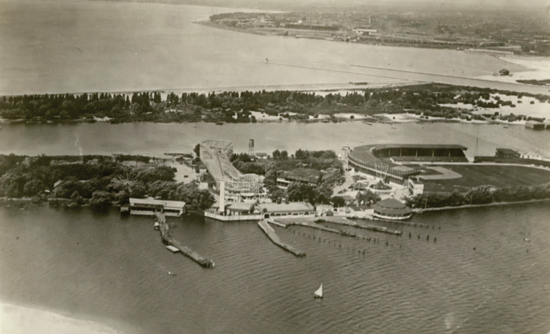Aerial view of islands with amusement parks and active waterfront
