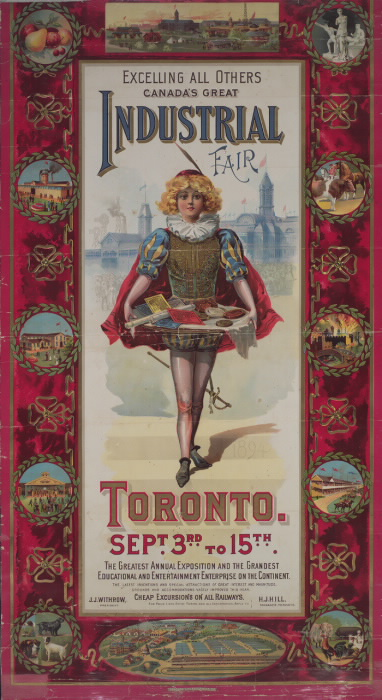 Illustrated poster reading Excelling all others Canada's Great Industrial Fair Toronto September 3 to 15