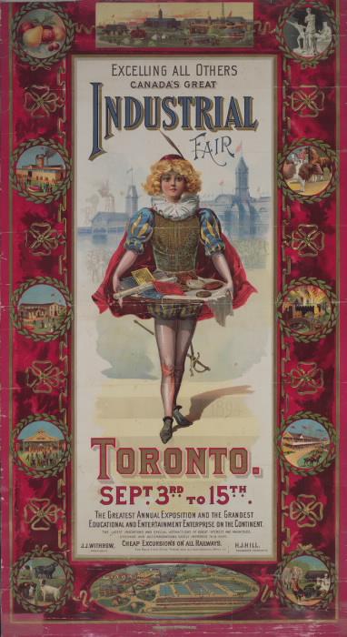 """Affiche illustrée """"La grande foire industrielle du Canada Toronto excelle toutes les autres, du 3 au 15 septembre"""""""