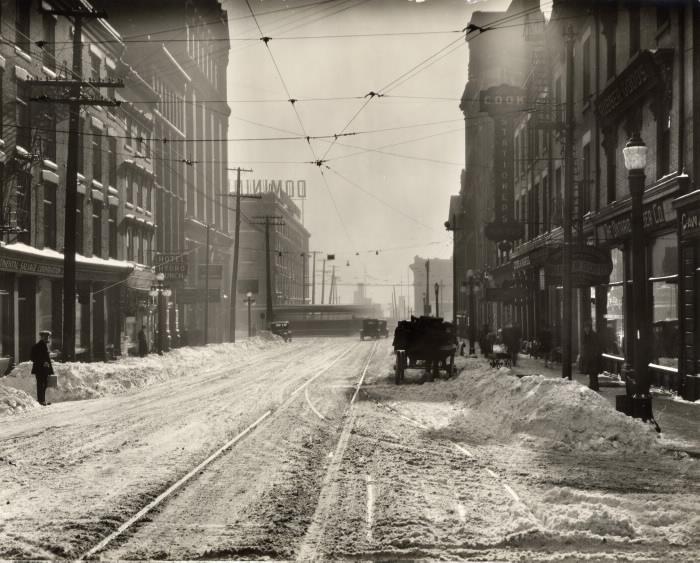 Snowy street in a city