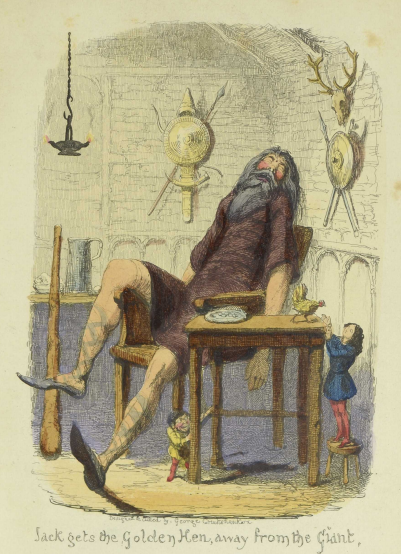 Illustration of sleeping giant and boy reaching up to hen on table with the text Jack Gets the Golden Hen Away from the Giant