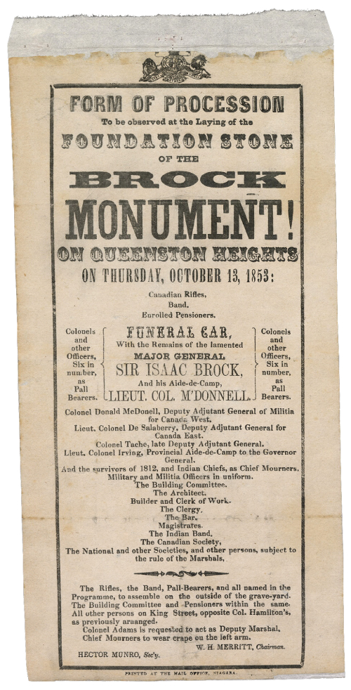 Vintage flyer that reads in part Form of Procession to be observed at the Laying of the Foundation Stone of the Brock Monument on Queenston Heights on Thursday October 13 1853