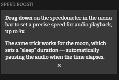 Audio playback speed and sleep settings.