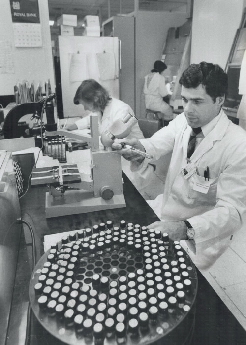 Scientists working on a vaccine