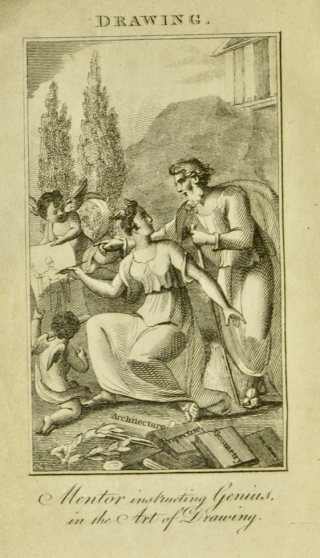 Illustrated page showing woman drawing alongside man on paper held by winged boy and the title Drawing