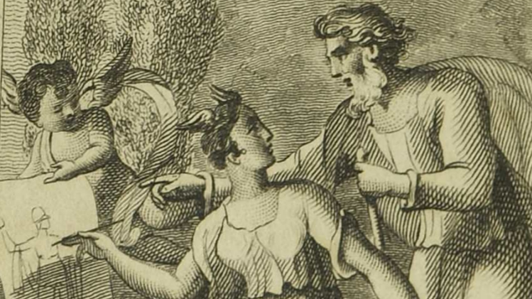 Sketch of woman drawing alongside man on piece of paper held by winged boy