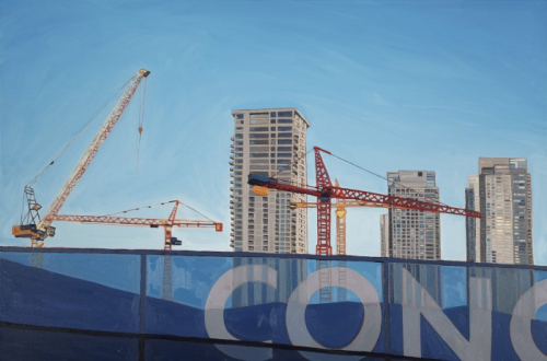 Four yellow and red cranes shoot up into the sky surrounded by several high rise buildings.