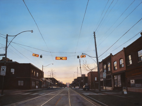 Painting of a city street. Painted from perspective of standing in the middle of the road looking towards a distant horizon with a crosswalk in the foreground.