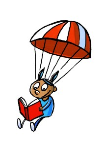 TDSRC cartoon of kid reading while parachuting