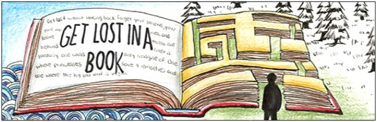 """Bookmark with an open book that has """"get lost in a book"""" on the left page and a maze on the right page"""