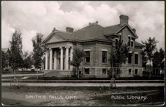 Carnegie library  seen from the corner with Smiths Falls written on it