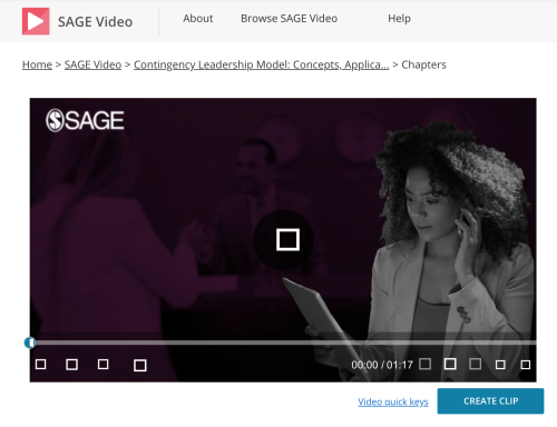 Screen shot of leadership video showing a woman on a phone with a laptop, from SAGE Videos
