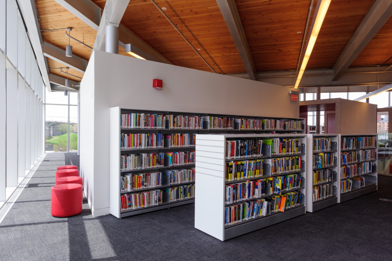Book shelves at Fort York branch