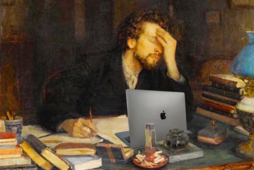 Painting, The Passion of Creation by Pasternak, modified so the tormented writer is working on a laptop