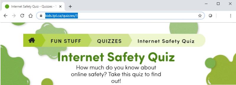 Browser window of TPL Kids Internet Safety Quiz