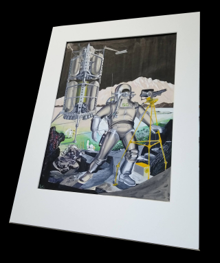 Matted unframed painting of astronaut in silver spacesuit front of early design for the NASA lunar lander