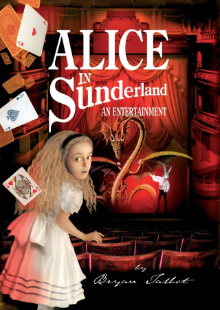 Book Cover of Alice in Sunderland. Alice look back from the White Rabbit on a stage.