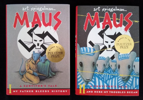 Book covers of Maus, a Survivor's Tale Vol I and II