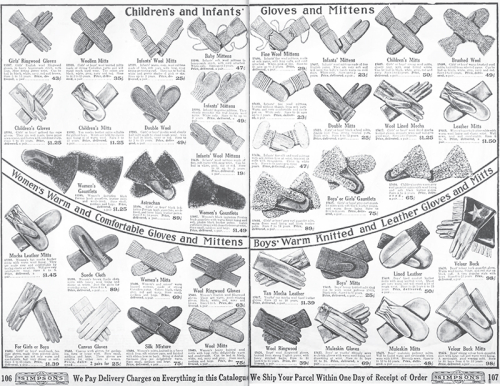 Open catalogue page spread showing dozens of pairs of gloves and mittens. Descriptions and prices below.