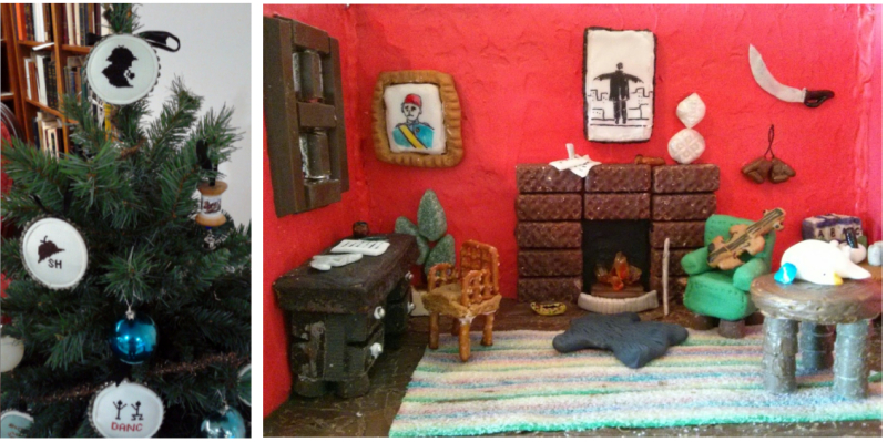 Two images, one of Small Christmas tree with ornaments showing codes from Sherlock Holmes and iconic objects of Sherlock Holmes in cross stitch, and another image of a detailed replica of a study room made of icing