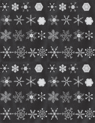 Pattern repeat of illustrated snow crystals on dark background.
