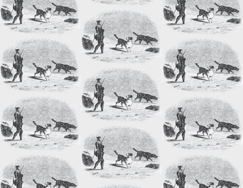 Pattern repeat of frontispiece illustration of man with walking stick walking through snow with two dogs.
