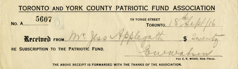 Vintage long rectangular slip reading Number A 5607 Received from Mr Jess Applegath re subscription to the patriotic fund with signature and small print reading the above receipt is forwarded with the thanks of the association.