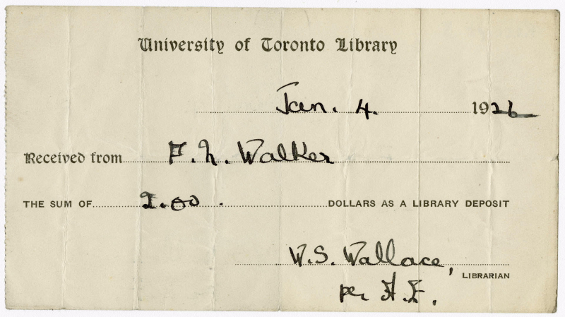 UofT Library deposit receipt for January 4 1926 with name and dollar amount filled in