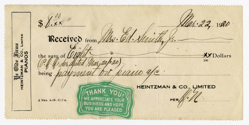 Heintzman payment receipt with multiple lines filled in with cursive writing indicating payment of eight dollars on March 22 1920 and a green stamp reading Thank You We Appreciate Your Business and Hope you are pleased