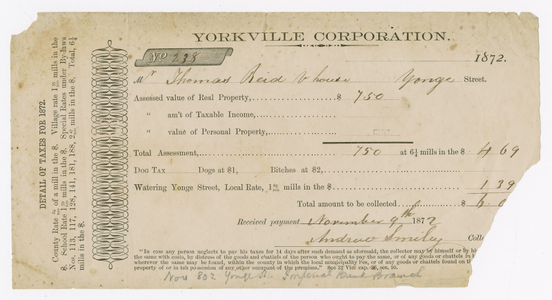 Ripped Yorkville Municipal Finances tax receipt with filled in number 238 and small print on side and bottom with address and financial fields to be filled out