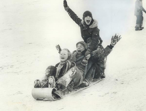 Kids in a sled