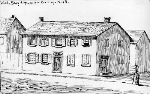 A simple line drawing of a two story business with shuttered windows. A woman walks towards it