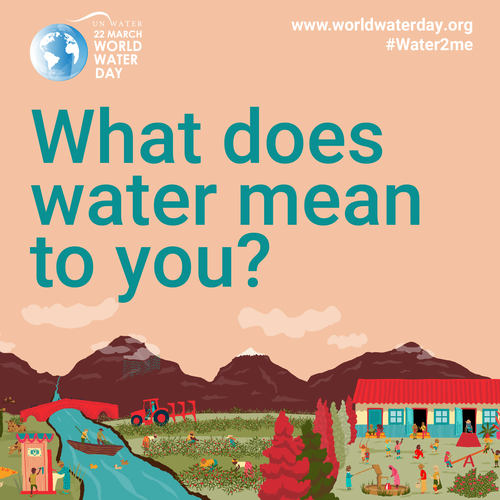 """Globe, river, and the question """"What does water mean to you""""?"""