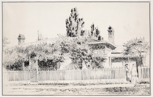 Black and white pen illustration of brick house with wood fence and trees