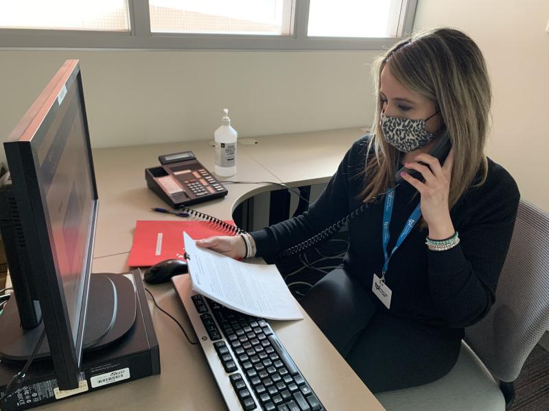 Claire Argyropoulos, Senior Services Specialist making calls