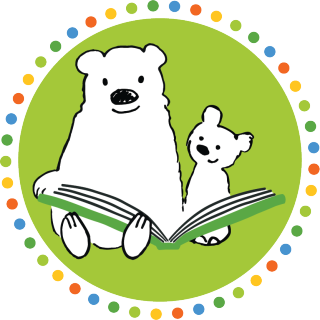 Ready for Reading logo - cartoon bear parent and child reading a book together inside a circle