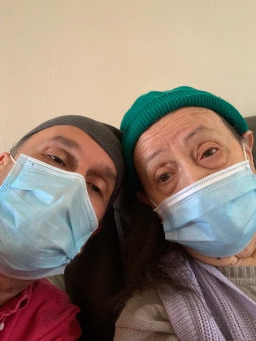 Bill V and Mum - both in masks