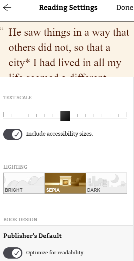 Reading Settings with larger font size and sepia lighting.