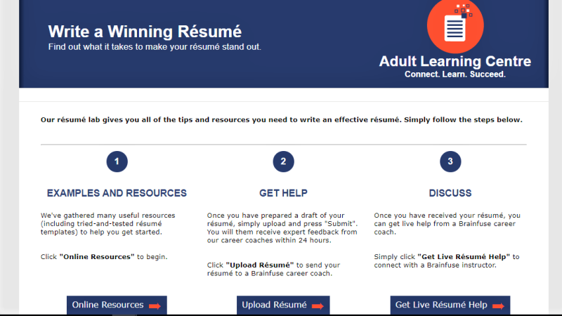 Screen Capture of Write a Winning Resume feature on Brainfuse
