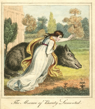 "Beauty rushes to the garden where a wolf-like Beast lies close to death. Text at bottom reads ""The absence of Beauty lamented.""."