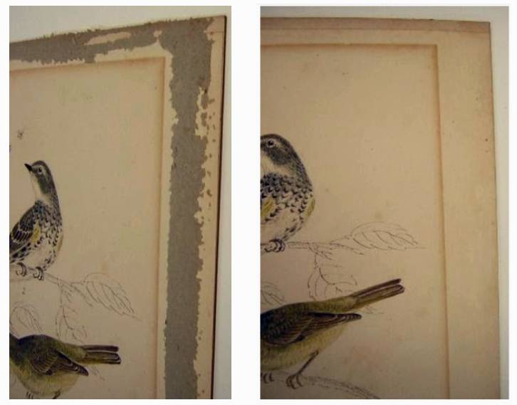 Side by side images of old paper drawings with the left one showing debris along border and the right image showing no debris along same border