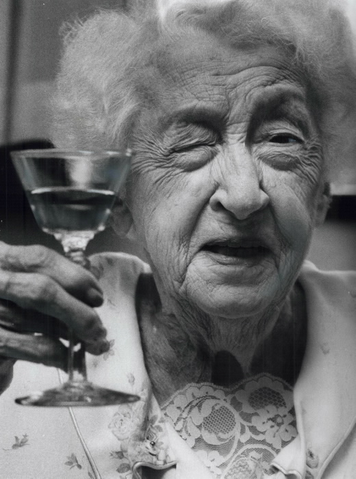 Adele Holford raises a glass of Sherry to celebrate her 100th birthday - Toronto Star Archives photo 1989